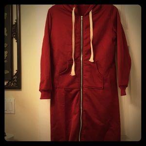 NWOT HukoApparel Maroon  Sweater Fleece Coat